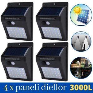 4 copë LED Reflektor diellorë me sensor